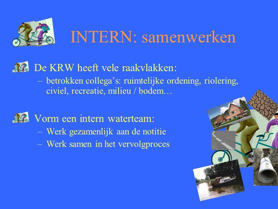 INTERN: samenwerken De KRW heeft vele raakvlakken: