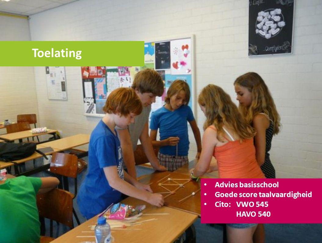 Toelating Advies basisschool Goede score taalvaardigheid Cito: VWO 545