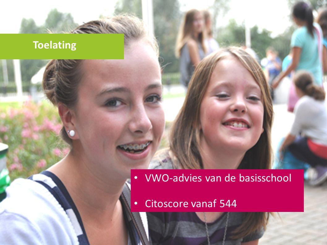 Toelating VWO-advies van de basisschool Citoscore vanaf 544