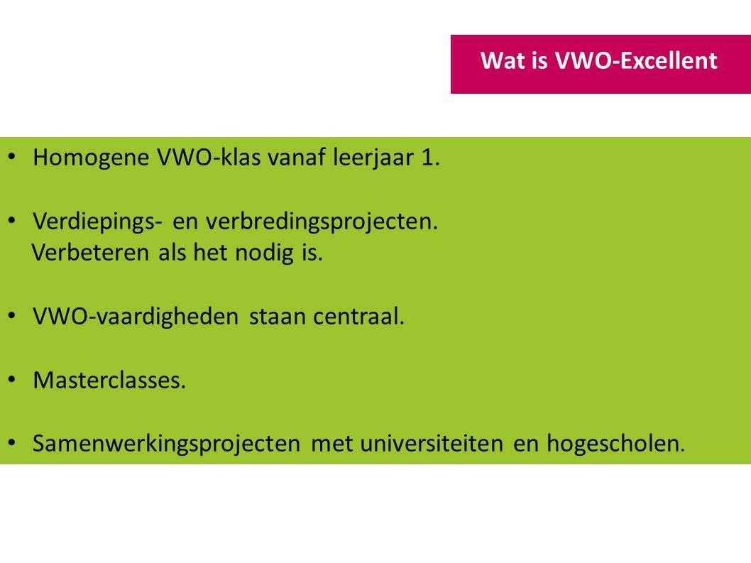 Homogene VWO-klas vanaf leerjaar 1.