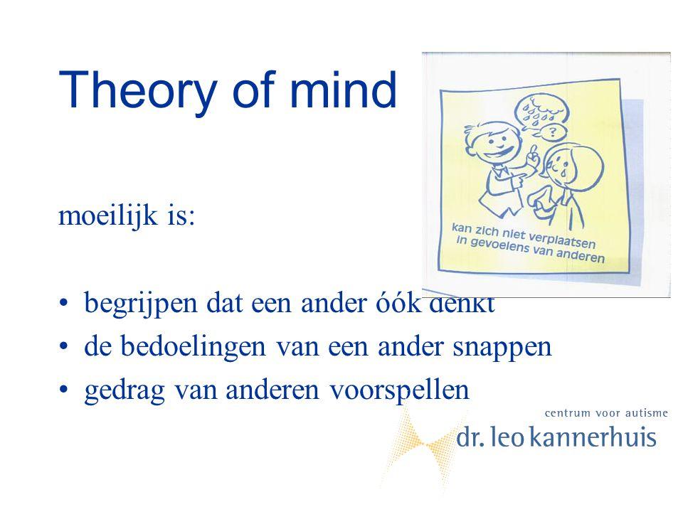 Theory of mind moeilijk is: begrijpen dat een ander óók denkt