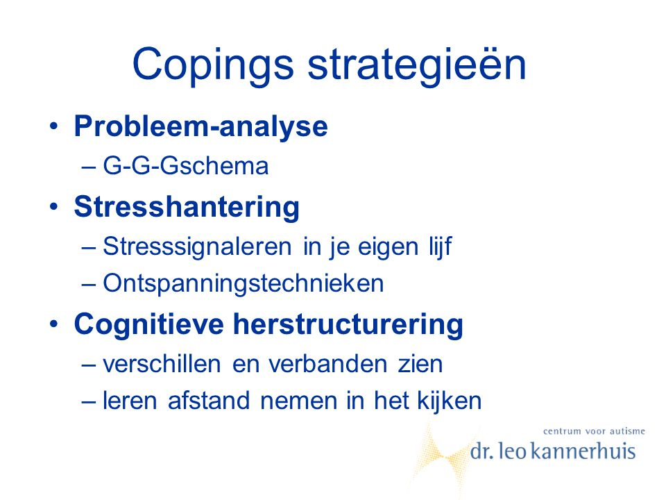 Copings strategieën Probleem-analyse Stresshantering