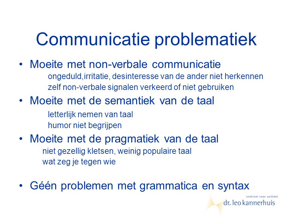 Communicatie problematiek