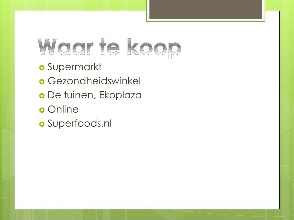 Waar te koop Supermarkt Gezondheidswinkel De tuinen, Ekoplaza Online