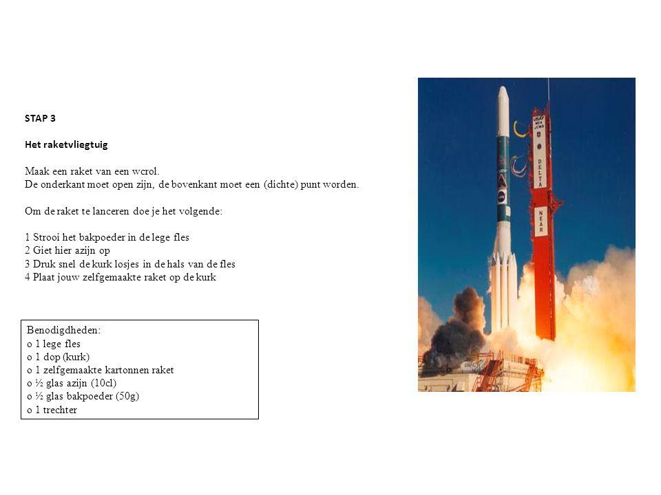 STAP 3 Het raketvliegtuig. Maak een raket van een wcrol. De onderkant moet open zijn, de bovenkant moet een (dichte) punt worden.