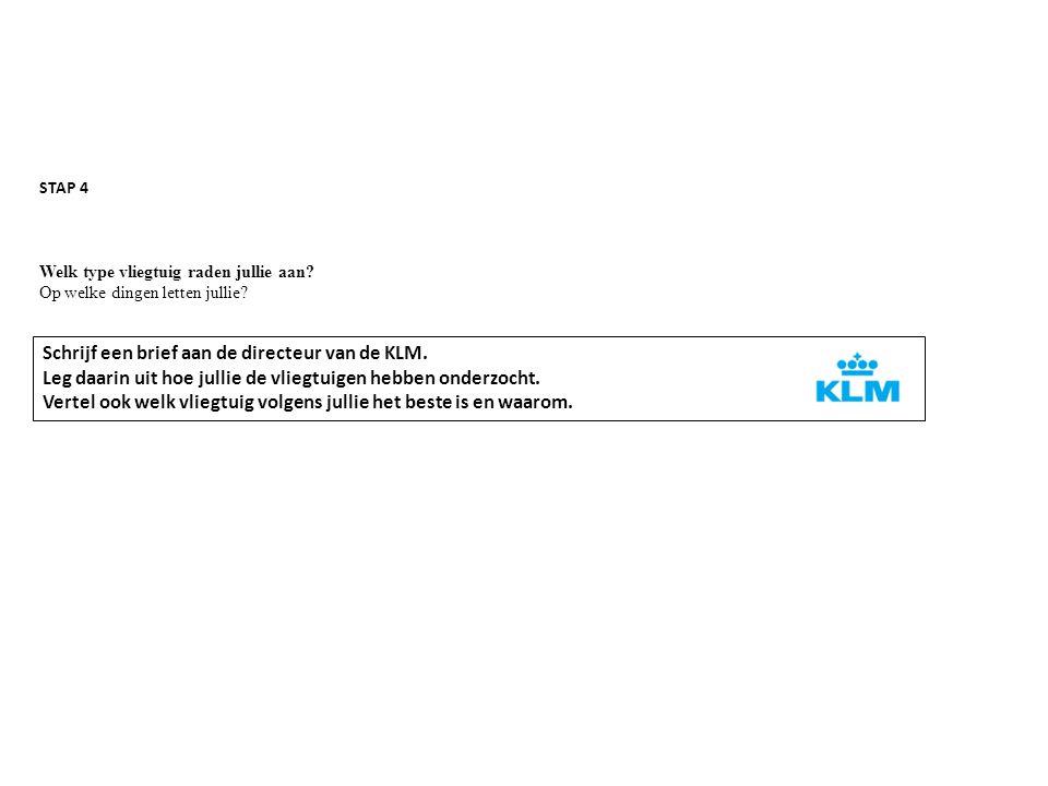 Schrijf een brief aan de directeur van de KLM.