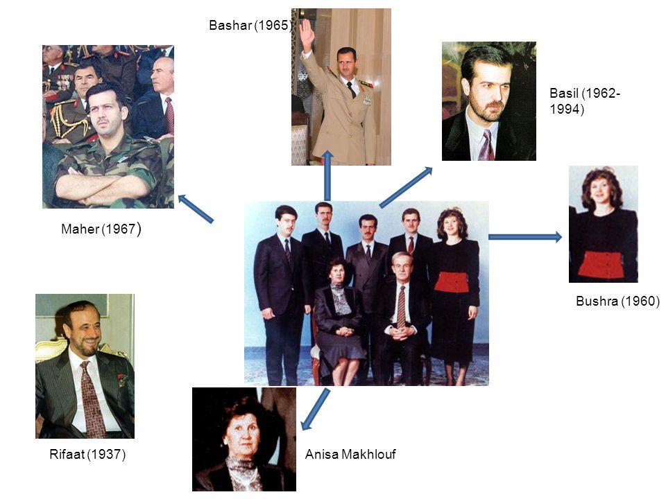 Bashar (1965) Basil (1962-1994) Maher (1967) Bushra (1960) Rifaat (1937) Anisa Makhlouf