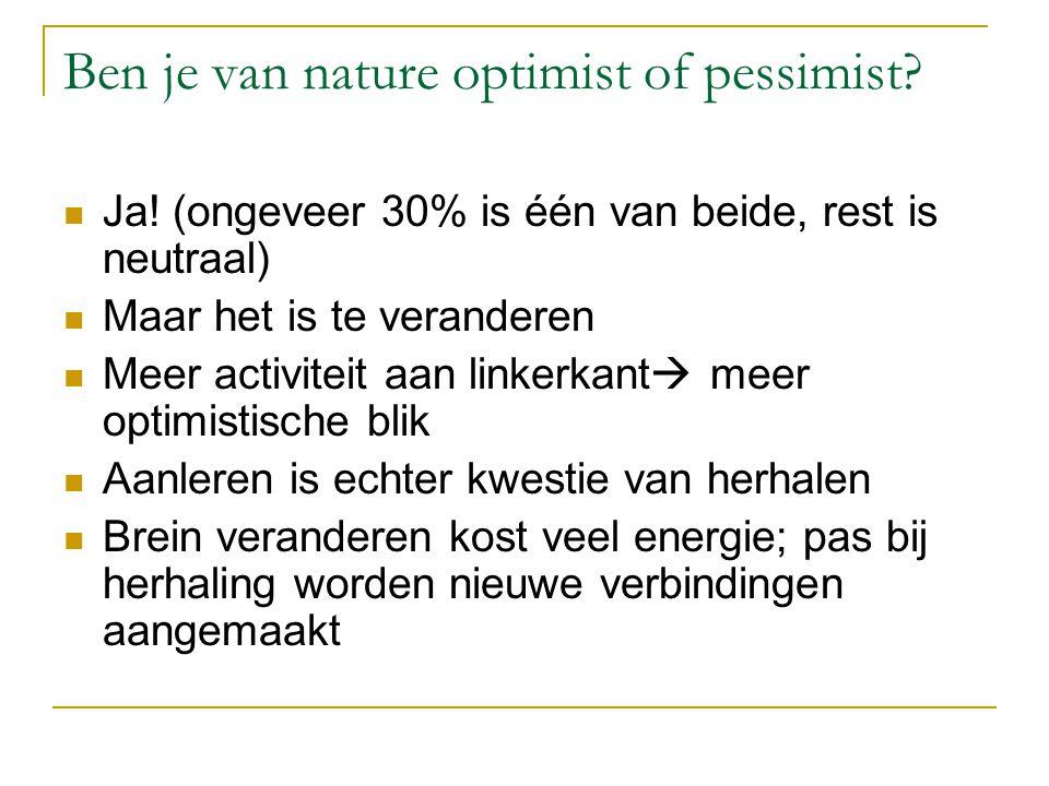 Ben je van nature optimist of pessimist