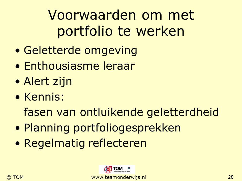 Voorwaarden om met portfolio te werken