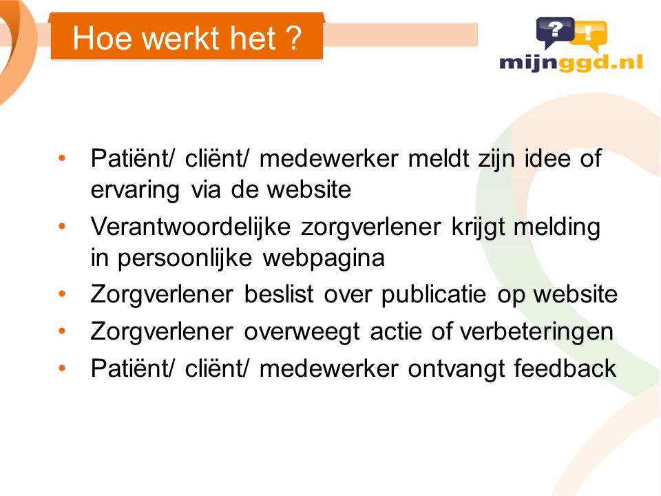 Hoe werkt het Patiënt/ cliënt/ medewerker meldt zijn idee of ervaring via de website.
