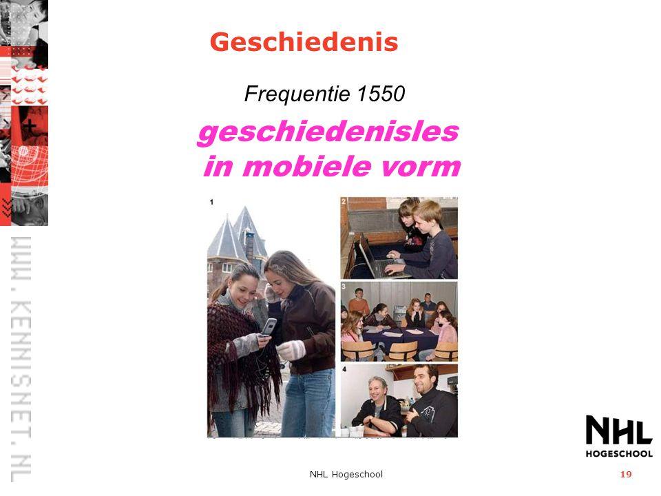 geschiedenisles in mobiele vorm Geschiedenis Frequentie 1550