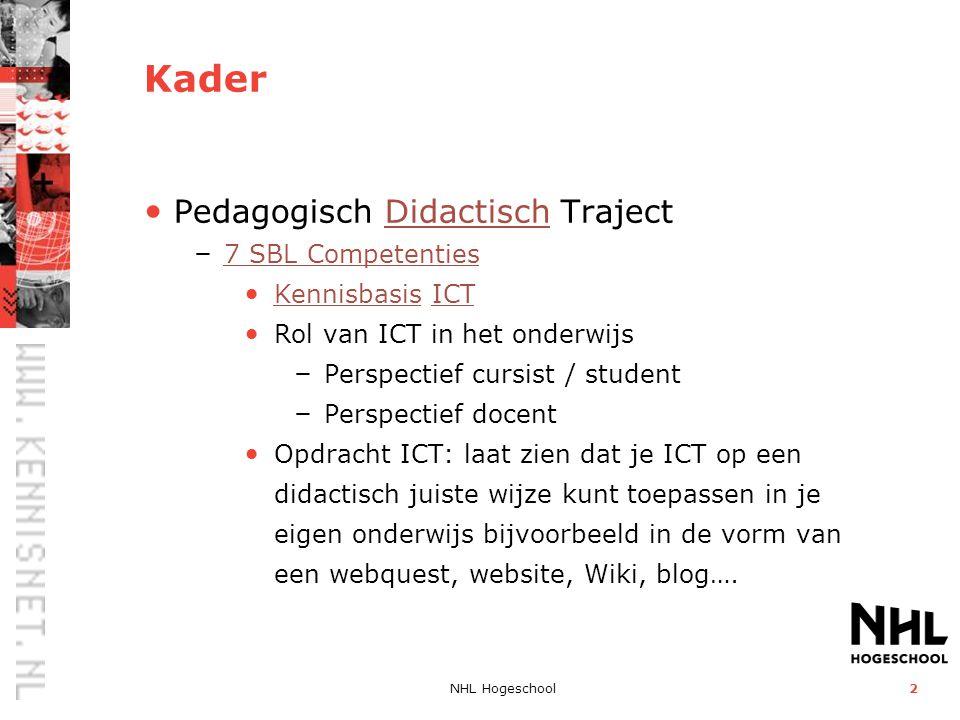 Kader Pedagogisch Didactisch Traject 7 SBL Competenties