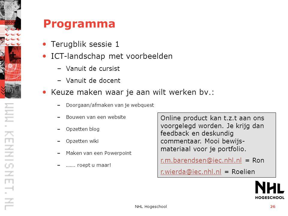 Programma Terugblik sessie 1 ICT-landschap met voorbeelden