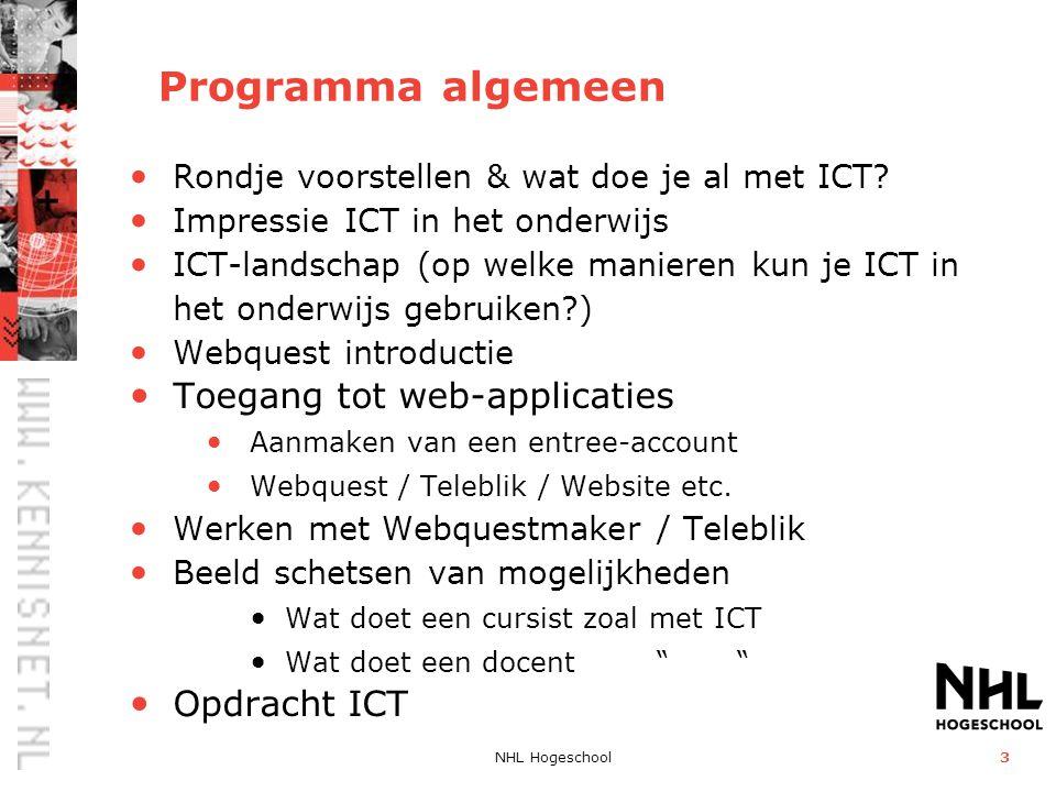 Programma algemeen Toegang tot web-applicaties Opdracht ICT
