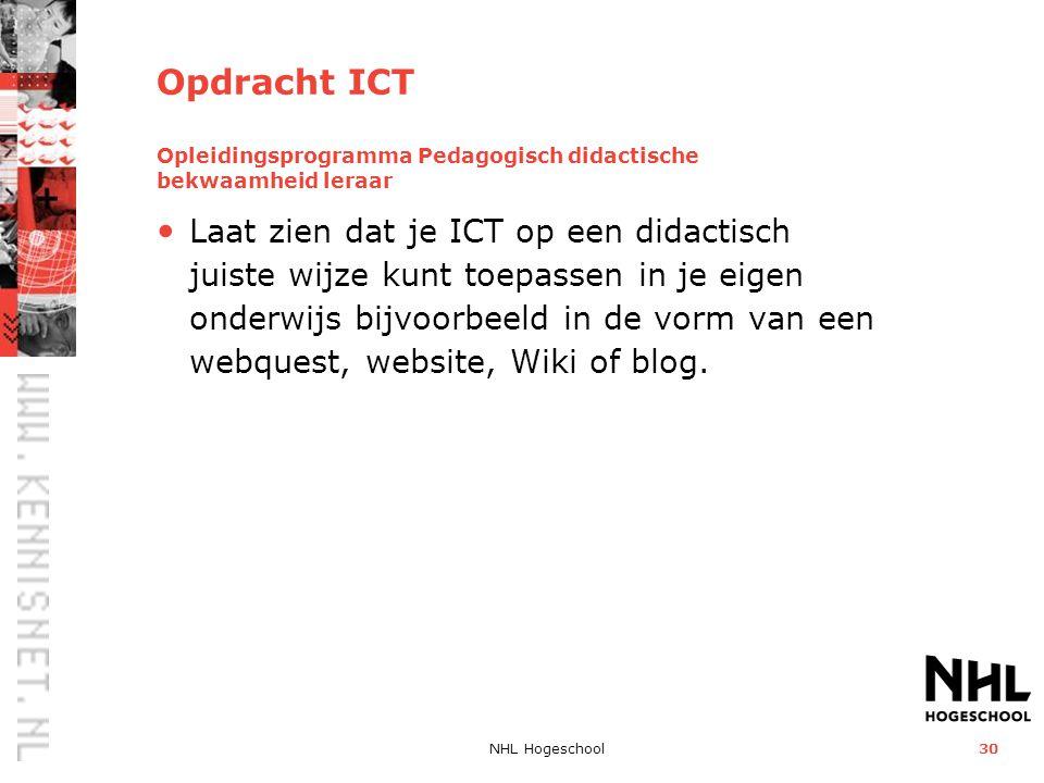 Opdracht ICT Opleidingsprogramma Pedagogisch didactische bekwaamheid leraar