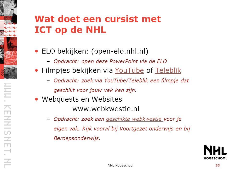 Wat doet een cursist met ICT op de NHL