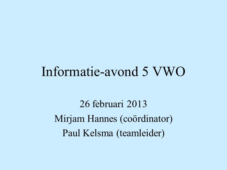 26 februari 2013 Mirjam Hannes (coördinator) Paul Kelsma (teamleider)