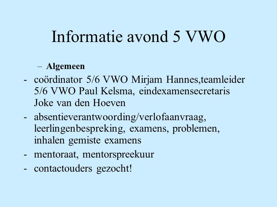 Informatie avond 5 VWO Algemeen. coördinator 5/6 VWO Mirjam Hannes,teamleider 5/6 VWO Paul Kelsma, eindexamensecretaris Joke van den Hoeven.