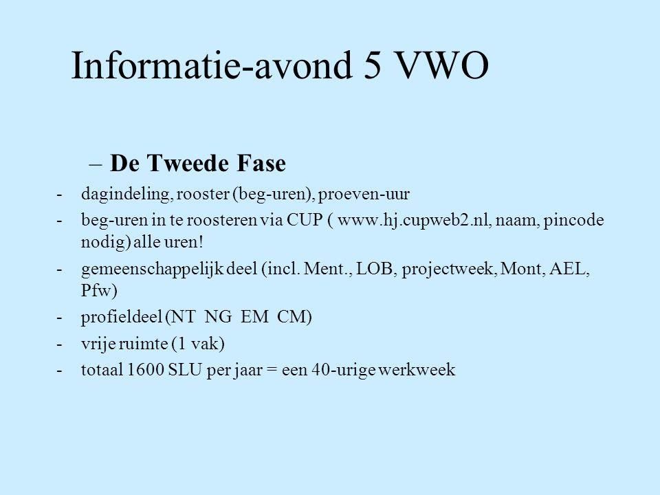 Informatie-avond 5 VWO De Tweede Fase