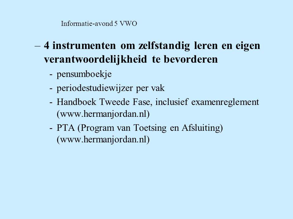 Informatie-avond 5 VWO 4 instrumenten om zelfstandig leren en eigen verantwoordelijkheid te bevorderen.