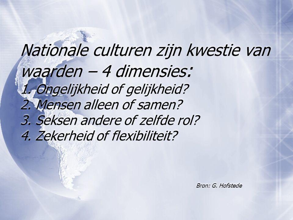 Nationale culturen zijn kwestie van waarden – 4 dimensies: 1
