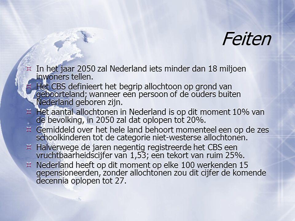 Feiten In het jaar 2050 zal Nederland iets minder dan 18 miljoen inwoners tellen.