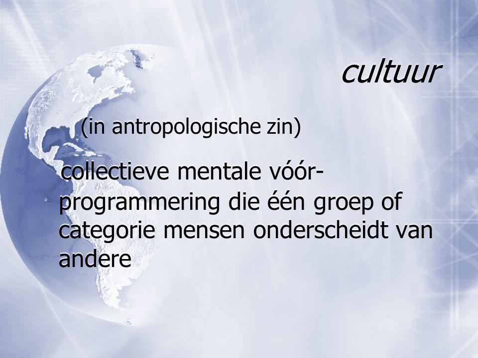 cultuur (in antropologische zin) collectieve mentale vóór-programmering die één groep of categorie mensen onderscheidt van andere.