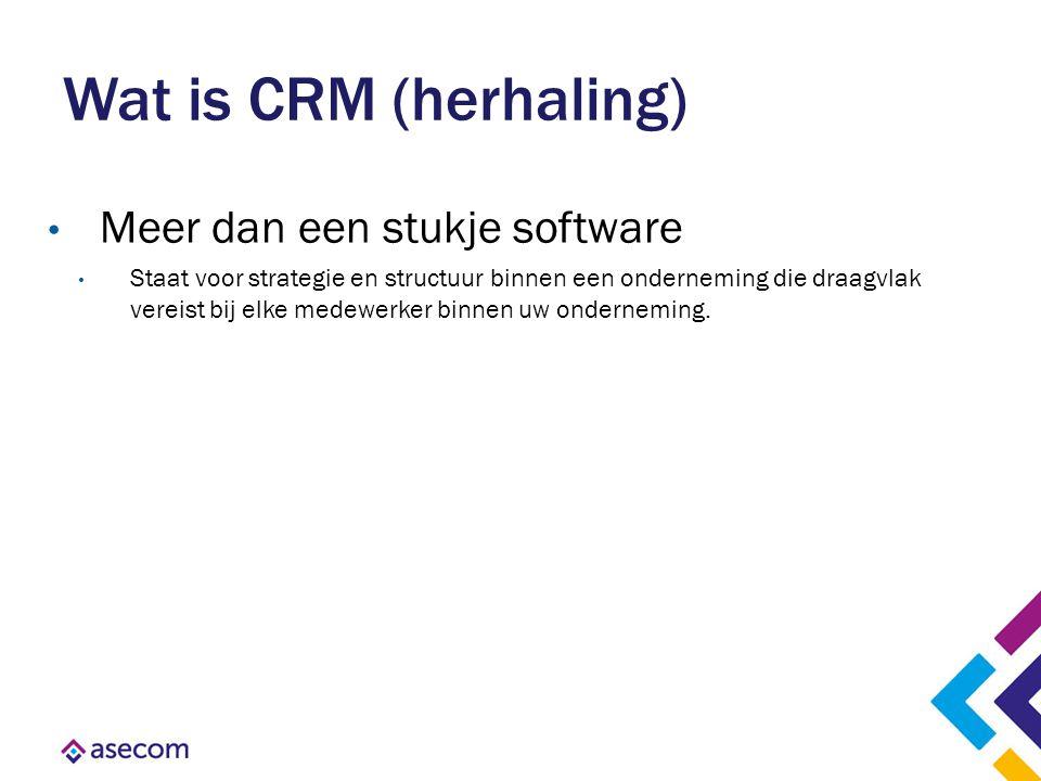 Wat is CRM (herhaling) Meer dan een stukje software