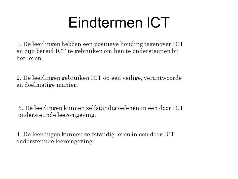 Eindtermen ICT 1. De leerlingen hebben een positieve houding tegenover ICT en zijn bereid ICT te gebruiken om hen te ondersteunen bij het leren.