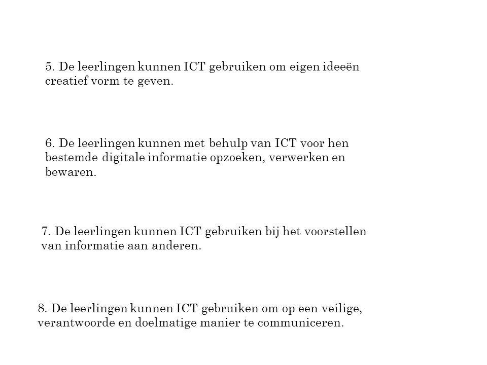 5. De leerlingen kunnen ICT gebruiken om eigen ideeën creatief vorm te geven.