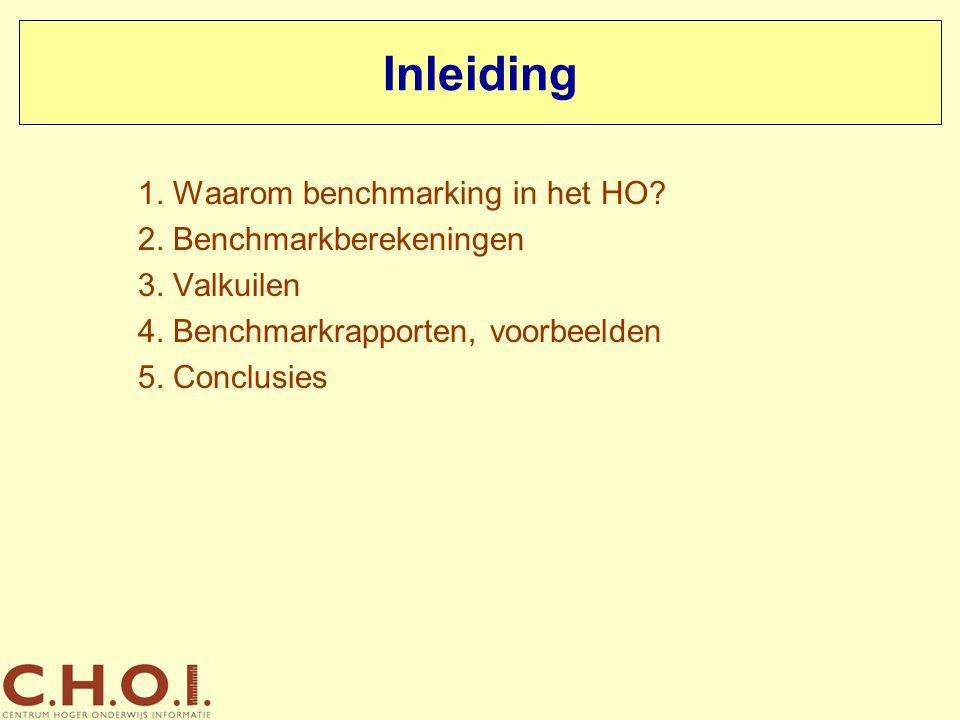 Inleiding 1. Waarom benchmarking in het HO 2. Benchmarkberekeningen