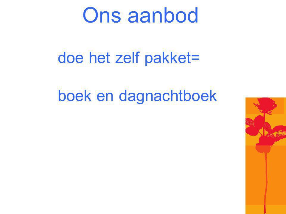 Ons aanbod doe het zelf pakket= boek en dagnachtboek