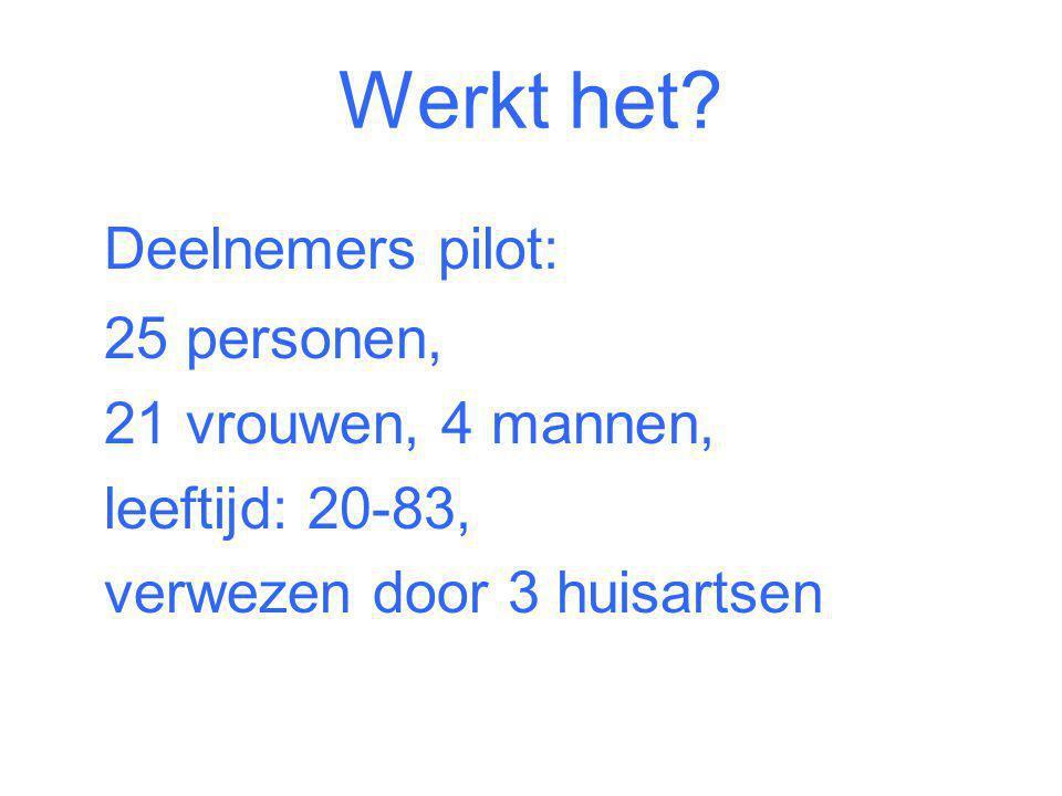 Werkt het Deelnemers pilot: 25 personen, 21 vrouwen, 4 mannen,