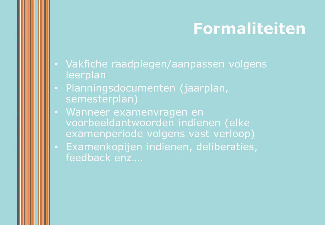 Formaliteiten Vakfiche raadplegen/aanpassen volgens leerplan