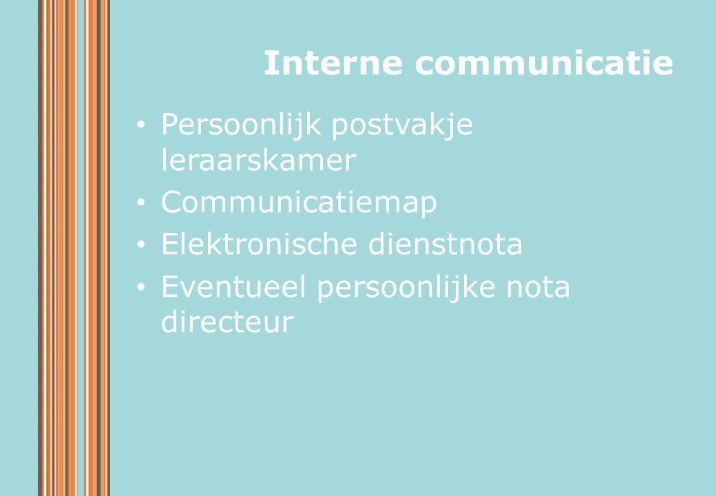 Interne communicatie Persoonlijk postvakje leraarskamer