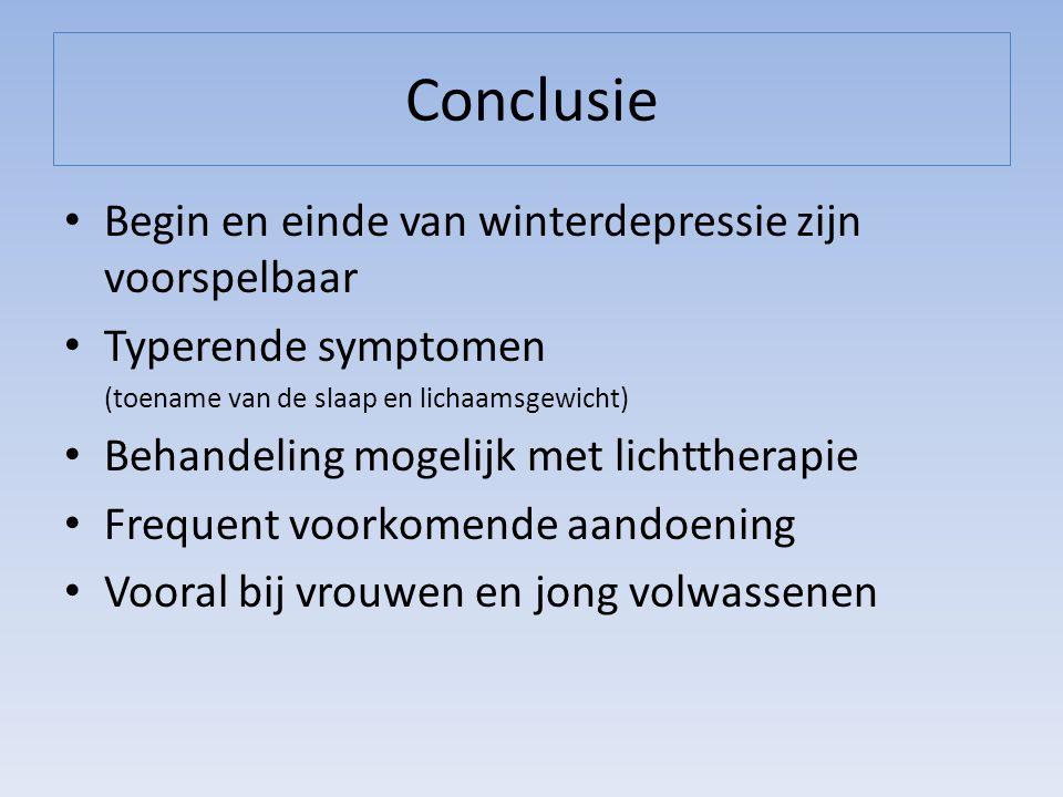 Conclusie Begin en einde van winterdepressie zijn voorspelbaar