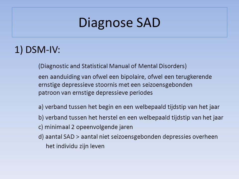 Diagnose SAD 1) DSM-IV: (Diagnostic and Statistical Manual of Mental Disorders)