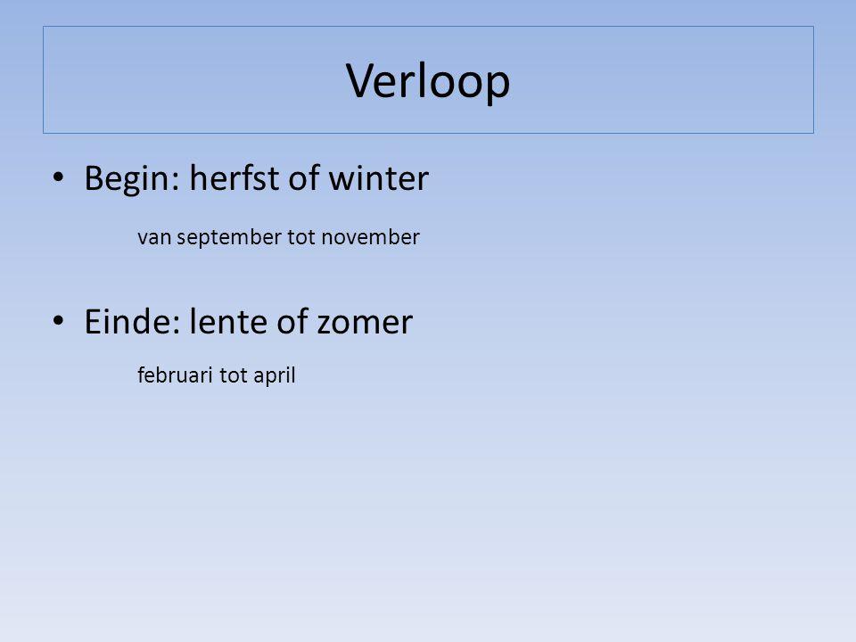 Verloop Begin: herfst of winter van september tot november