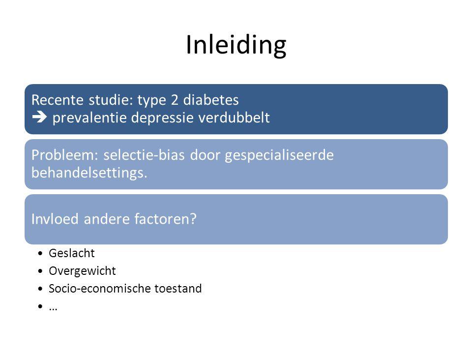 Inleiding Recente studie: type 2 diabetes  prevalentie depressie verdubbelt. Probleem: selectie-bias door gespecialiseerde behandelsettings.