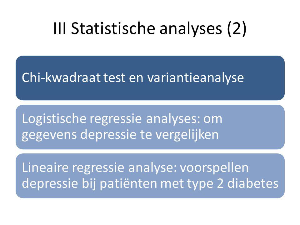 III Statistische analyses (2)