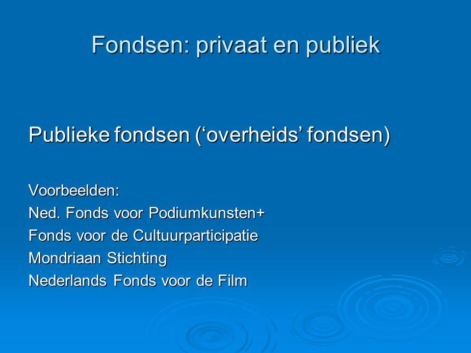 Fondsen: privaat en publiek