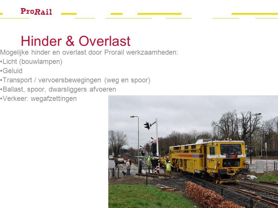 Hinder & Overlast Mogelijke hinder en overlast door Prorail werkzaamheden: Licht (bouwlampen) Geluid.