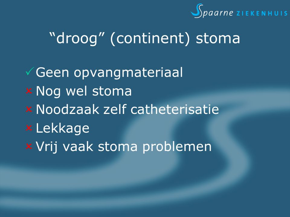 droog (continent) stoma
