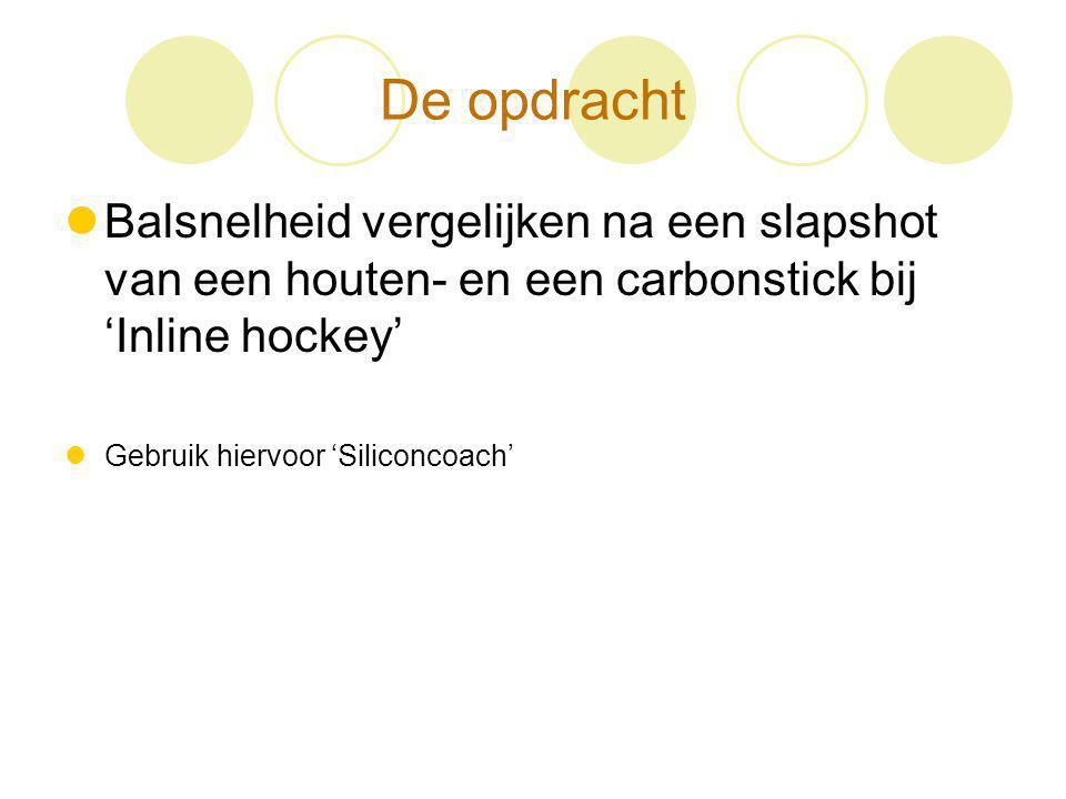 De opdracht Balsnelheid vergelijken na een slapshot van een houten- en een carbonstick bij 'Inline hockey'