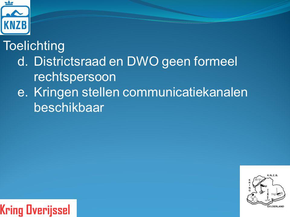 Toelichting Districtsraad en DWO geen formeel rechtspersoon.