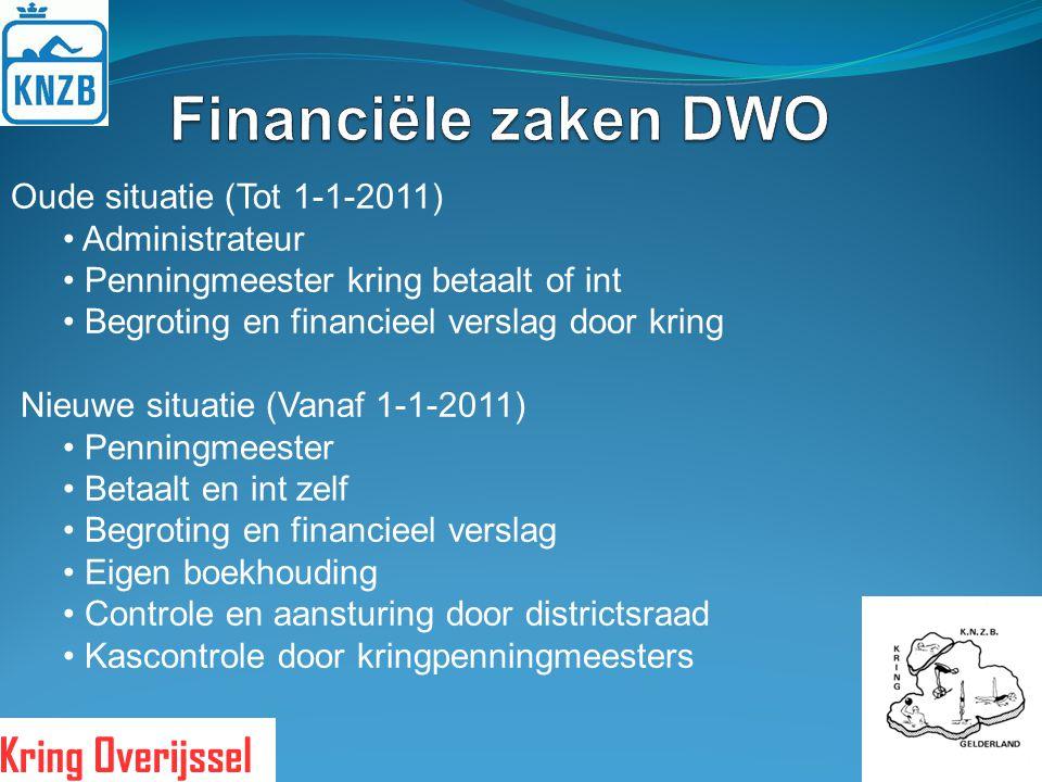 Financiële zaken DWO Oude situatie (Tot 1-1-2011) Administrateur