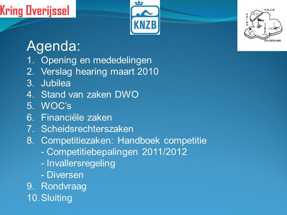 Agenda: Opening en mededelingen Verslag hearing maart 2010 Jubilea
