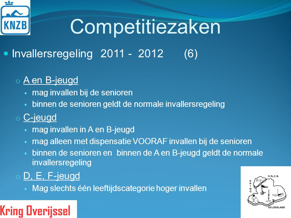 Competitiezaken Invallersregeling 2011 - 2012 (6) A en B-jeugd C-jeugd