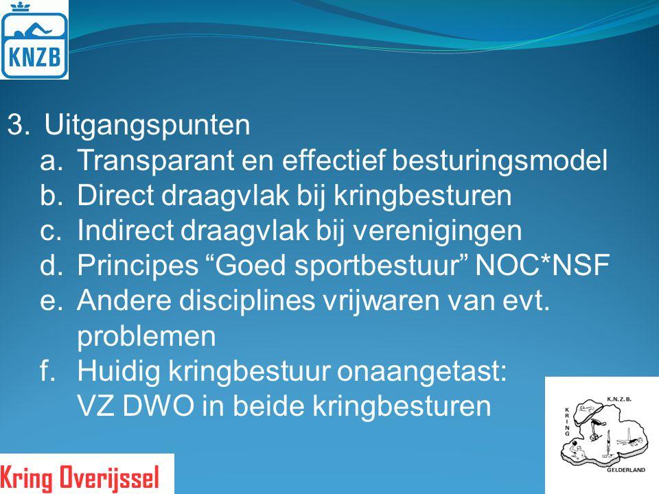 Uitgangspunten Transparant en effectief besturingsmodel. Direct draagvlak bij kringbesturen. Indirect draagvlak bij verenigingen.