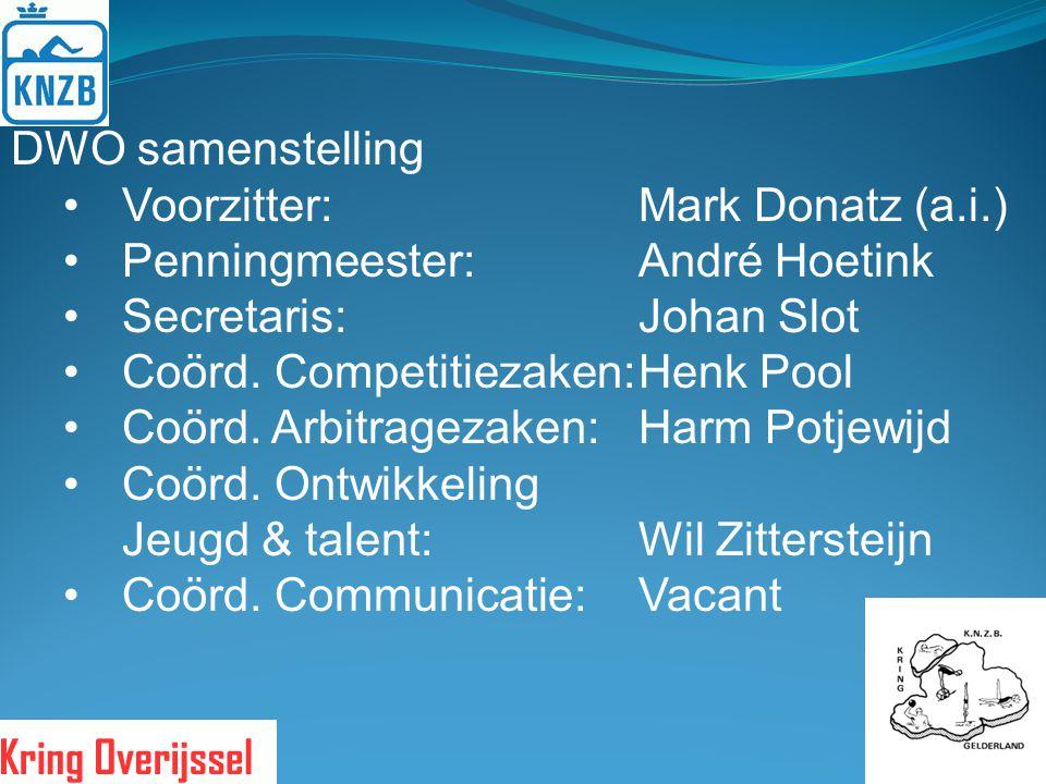 DWO samenstelling Voorzitter: Mark Donatz (a.i.) Penningmeester: André Hoetink. Secretaris: Johan Slot.